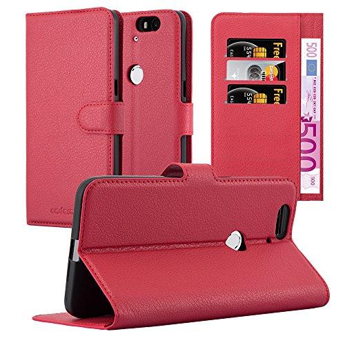 Cadorabo Hülle für Huawei Nexus 6P in Karmin ROT - Handyhülle mit Magnetverschluss, Standfunktion & Kartenfach - Hülle Cover Schutzhülle Etui Tasche Book Klapp Style