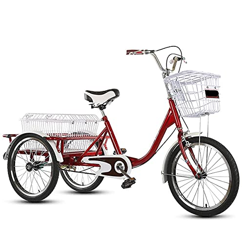 FGVDJ Pedal 20'Triciclo de 3 Ruedas para Adultos, Bicicleta para Adultos Bicicleta de Pedal con Canasta para Deportes al Aire Libre Compras Ajustable