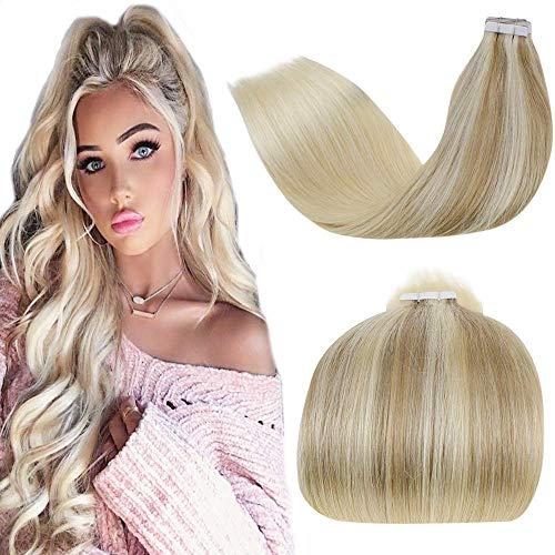 LaaVoo Ombre Tape in Haarverlängerung Echthaar Blond 55cm Aschblond Balayage Mittelblond Ombre Platinblond Remy Seamless Menschliches Haar 50GR/20PCS Human Hair Extensions Tapes in Blond