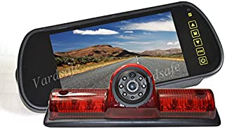 Vardsafe VS503K Brake Light Backup Camera & 7 Inch Clip-on Mirror Monitor for Nissan NV 1500 2500 3500