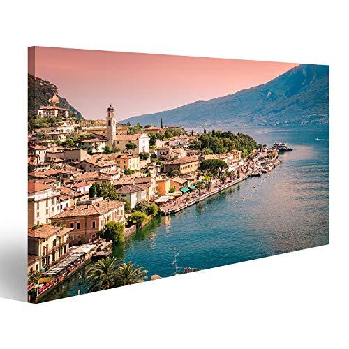 bilderfelix® Bild auf Leinwand Panorama von Limone sul Garda, Einer Kleinstadt am Gardasee, Italien. Wandbild, Poster, Leinwandbild PSH