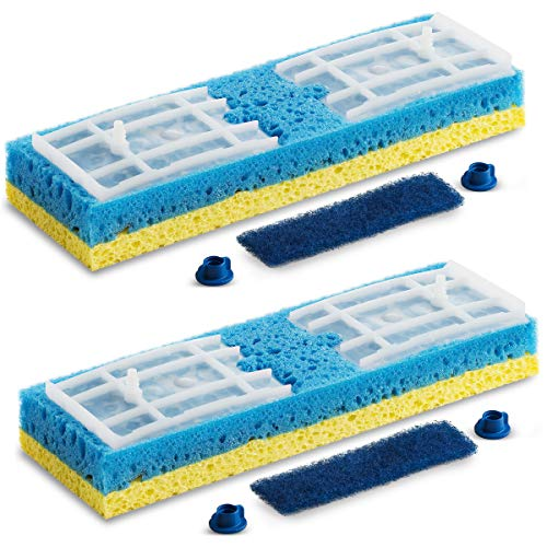 Quickie Sponge Mop Refill Type S [Set of 2] Sponge Mop Head Replacement - Quickie Mop Pads Refills 9X2.75 Inch - Quickie Mop Replacements #045 - Made in USA - Bundled Eraser Cleaning Pad