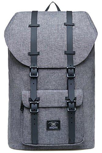 KAUKKO Rucksack Damen Herren für 15 Zoll Laptop für Schule, Arbeit oder Reise, 21.57 Liters, 27 * 17 * 47 cm (Grau JNL-D2-09)