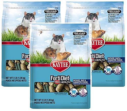 Kaytee (3 Pack) Forti-Diet Pro Health Mouse, Rat & Hamster Food 3 lbs Each