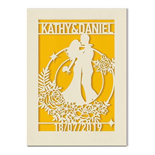 Personalisierbare Hochzeitstagskarte | Hochzeitsandenken-Grußkarte | Individuelle Jubiläumskarte mit Umschlägen handgefertigt in Großbritannien (Gold)
