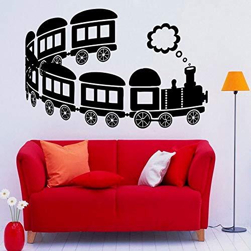ASFGA Zug Wandtattoo Fenster Vinyl Aufkleber Kinder Jungen Schlafzimmer Babyzimmer Kindergarten Spielzimmer Hauptdekoration Spielzeug Auto Wandkunst abnehmbar 74x112cm