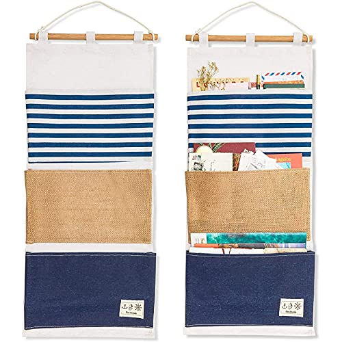 Wall Mounted Organizer with 3 Pockets for Hanging Storage (11.75 x 27 In, 2 Pack)