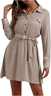 CCOOfhhc Women's Casual Dresses Lapel Button Dress Loose Mini Short T-Shirt Dress A-line Formal Party Dress with Belts
