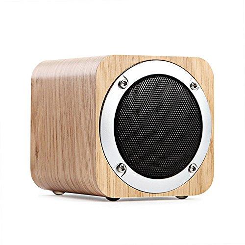IREALIST Houten Bluetooth-luidspreker, draagbare draadloze luidspreker met FM-radio en verbeterde basresonator ondersteuning TF-kaart, audio-ingang (Y-eik)