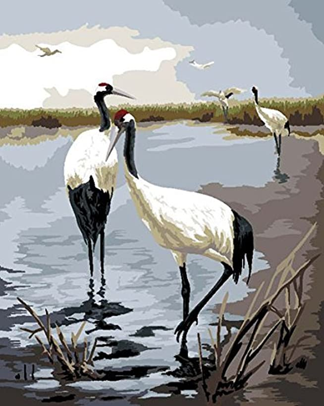 LB Oil Painting for Adults Kids Paint By Number Kit Digital Oil Painting Cranes 16X20 Inches