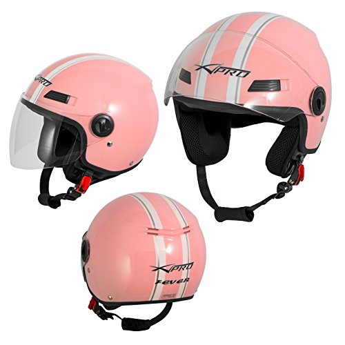A-Pro Motorradhelm Motorrad Roller Offenes Jet Helm Viser ECE 22 05 Rosa L
