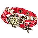 Taffstyle Damen-Armbanduhr Analog Quarz mit Leder-Armband Uhr Vintage Retro Seestern Rot