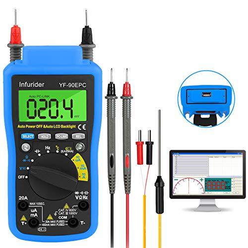 Multímetro digital, INFURIDER YF-90EPC 4000 cuentas Voltímetro Amperímetro de rango automático DMM para CA CC Volt, Amp, Ohm, Cap, Temp, Prueba de batería con conexión USB a PC