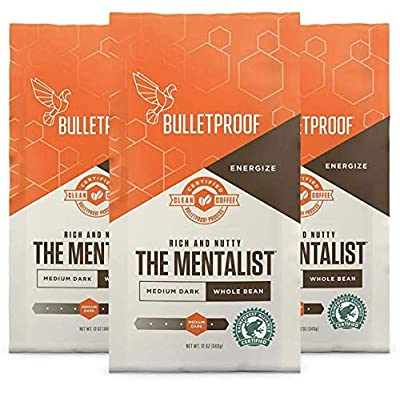 Bulletproof The Mentalist Whole Bean Coffee 3-Pack, Medium Dark Roast, Keto Friendly, Certified Clean Coffee, Rainforest Alliance, Whole Bean, Bundle