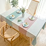 Xqi wangpu Tischschutz Beschwerergerollte Waterproof Decorative Table Cloth Tablecloth Candy Color Stripe Rectangular Dining Table Cover Obrus ​​Tafelkleed Mesa Nappe-Pink Blau_140X300Cm