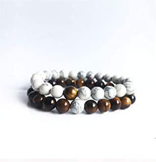 Natural Tiger Eye Stone Beads White Howlite Couple Bracelet Distance Bracelets