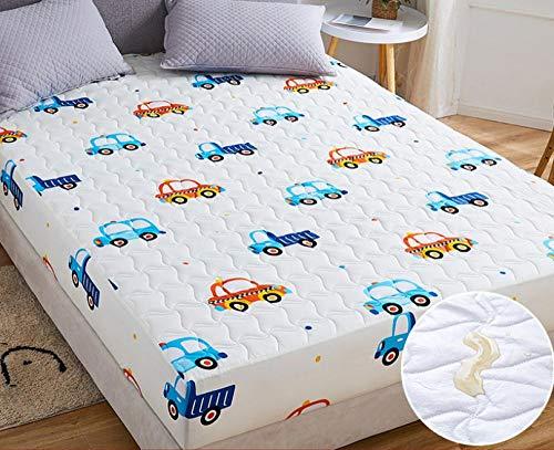 XLMHZP sabanas Invierno,Sábana Impermeable, Protector de colchón Transpirable y Lavable, sábana de Ajuste Fijo Antideslizante Acolchado Grueso-L_180x220cm + 30cm