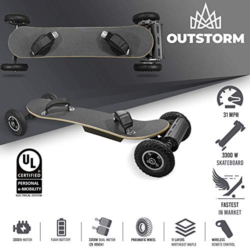 OUTSTORM 31MPH Off Road Electric Skateboard – 3300w Motorized Mountain Longboard with Dual Motors...