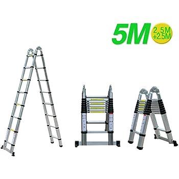 MOMOJA Escalera Telescópica de Aluminio 5M Escalera Alta Multifuncional Carga 150 KG: Amazon.es: Bricolaje y herramientas