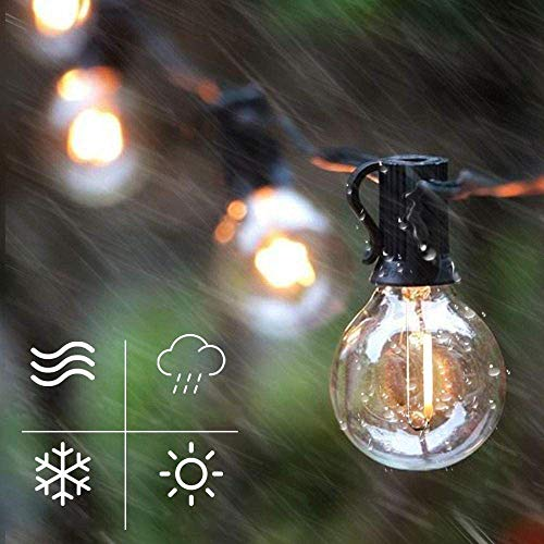 A-Generic Outdoor String Light LED G40 100 Feet Lamp 2700K 50PCS Socket 1.64FT Spacing Waterproof Indoor Outdoor Earth Rope Light Suitable Garden Terrace Terrace