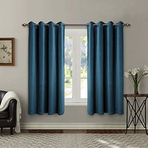 Singinglory Blue Velvet Curtains Pair 66x72 Drop, Thermal Insulated Heavy Eyelet 2 Panels with Tiebacks for Bedroom (Navy Blue, 66x72)