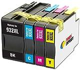 TONER EXPERTE 4 XL Cartuchos de Tinta compatibles con HP 932 932XL 933 933XL para Impresoras HP Officejet 6100 6600 6700 7110 7510 7600 7610 7612 7620   Alta Capacidad