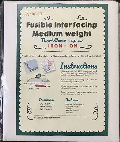 MAROBEE Medium Weight Iron On Fusible Interfacing for Sewing Projects, (40 Inch x 3 Yard) White Non-Woven
