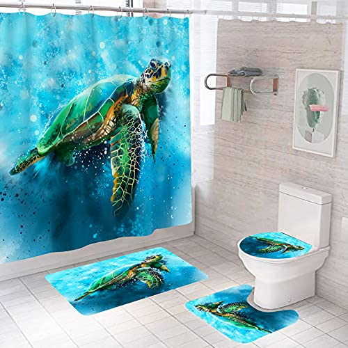Sea Turtle Bathroom Sets with Shower Curtain and Rugs and Accessories, Ocean Nautical Shower Curtain with 12 Hooks, Durable Waterproof Fabric Shower Curtain…