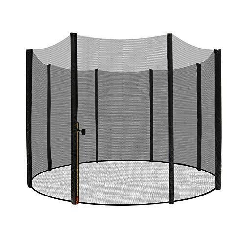 AufuN Trampoline Sicherheitsnetz Ø 305 cm Ersatznetz aus Polyethylen für Gartentrampolin 8 Stangen 180 cm Höhe, reißfest, UV-beständig Fangnetz Schutznetz, Schwarz 10FT