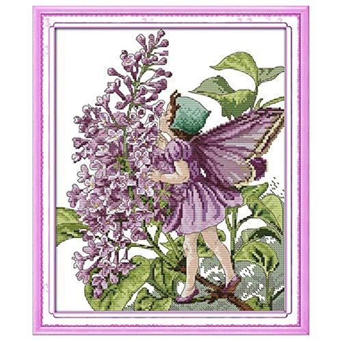 Cleana Arts Punto de Cruz Kits, Hada de las flores, 11CT, 39 CM x 46CM