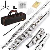 Eastar- Flauta Travesera Nickel Plated 16 Llaves Agujero Cerrado C Flauta para Principiantes
