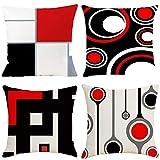 gudotra 4 pezzi federe cuscini divano 45x45cm copricuscini divano beige rosso nero federe cuscini decorativo in lino per cuscino caso