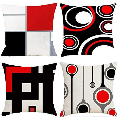 Gudotra 4 fundas de cojín para sofá, rojo y negro, para cojines de Navidad, decorativos, de lino, para cojín, 45 x 45 cm (estilo 21 rojo y negro)
