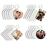 Sublimation Keychain Blanks, 20Pcs DIY MDF Blank Keychain with Key Rings, Double-Side Printed Heat Transfer Keychain