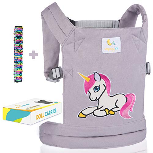 HappyVk- Baby Doll Carrier for Kids- with Cute Unicorn Embroidery. Plus a Reversible Sequin Bracelet.Fits Dolls or Stuffed Animals up to 24 inches, Front and Back (as Backpack Carrier)
