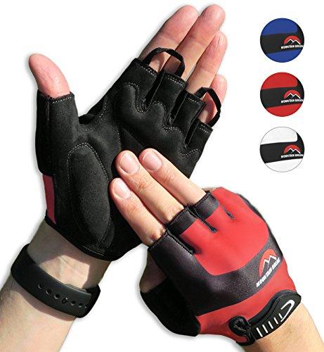 Halbfinger Radsport Handschuhe, Fahrradhandschuhe für Herren und Damen, für Rennrad, Mountainbike, Krafttraining, Fitness, Crossfit, Bergsteigen, Sport, Rot, S