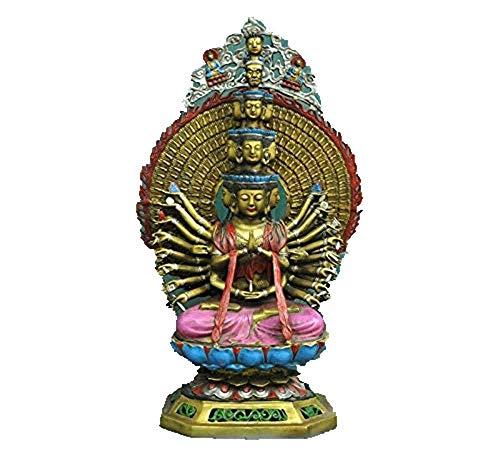 FTFTO Equipo de Vida Tibet Budismo Bronce Plata Dorada Avalokitesvara Kwan Yin GuanYin Estatua de Buda