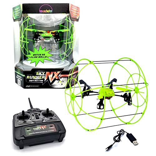 indoor outdoor drones MUKIKIM Sky Runner - Quadcopter Aerocraft. Easy-To-Fly Technology For Indoor/Outdoor! 2.4 GHz Caged Drone that Runs Along Floors, Ceilings, Climbs Walls AND Flies Up to 100 ft Away!