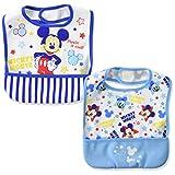 [ディズニー] ミッキー&ミニー お食事 エプロン 2枚組 ポケット付き ボーイズ ブルー 日本 フリー (FREE サイズ)