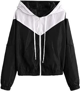 ZAFUL Women's Long Sleeve Hooded Collar Wide Waist Two Tone Windbreaker Jacket