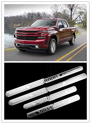 For Chevrolet Silverado Accessories 2019-2020 Door Sill Protector Door Sill Scuff Plate Cover Trim 4pcs (Door Sill)