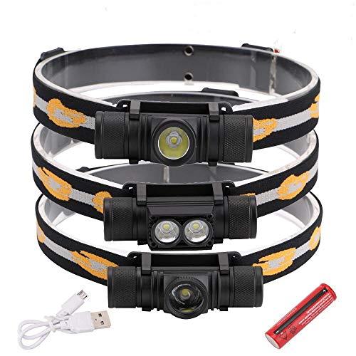 Linternas frontales 3800LM XM-L2 faros LED USB recargable linterna de la energía de la batería de la linterna 18650 acampa de la antorcha luz de la lámpara a prueba de agua Trabajo iluminación