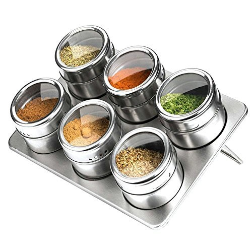 6 Piece Magnetic Spice Jars, Stainless Steel Seasoning Spice Tools with Trestle and Rotating Transparent Lid by XUANLAN ( Round Shape, Silver)