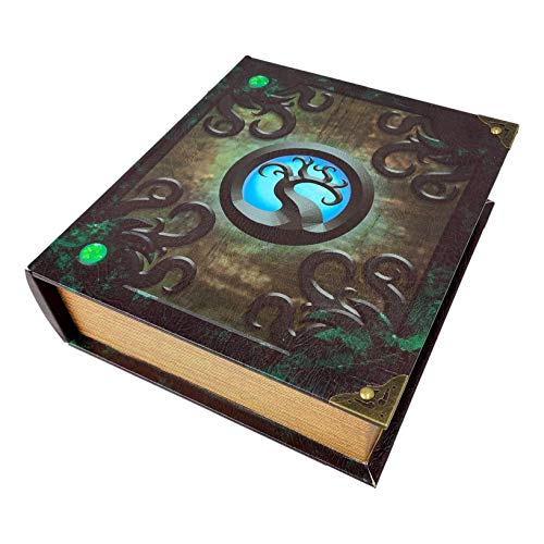 Grimoire Deck Box, Sentient - Wooden Spellbook Style Large Capacity Trading Card Deck Storage (800 to 1000 Cards) for MTG Magic the Gathering, Yugioh, Pokemon | Gift Item for Commander, Edh, Modern