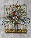 kit de punto de cruz Hermosas flores 40x50cm Kit de bordado de punto de cruz con estampa dopreimpreso para principiantes niños y adultos