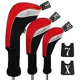 Andux 3pcs / Set Golf 460cc Conductor Cubiertas de Cabeza de Madera con Cuello Largo y No. Etiquetas Intercambiables Paquete de 3 (Cuello Largo, Rojo, MT/MG22)