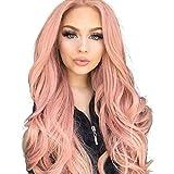 Pelucas para mujeres hermosas pelucas largas y onduladas rizadas para mujeres sexy onda larga moda peluca sintética rosa natural rizado ondulado disfraz peluca + sombrero pelucas para mujeres disfraz