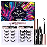 Maphie Magnetic Eyelashes with Eyeliner Kits,8 Pairs Reusable Magnetic Eyelashes and 2 Tubes Of Magnetic Eyeliner Kits,5D Natural Look Magnetic Lashes With Applicator