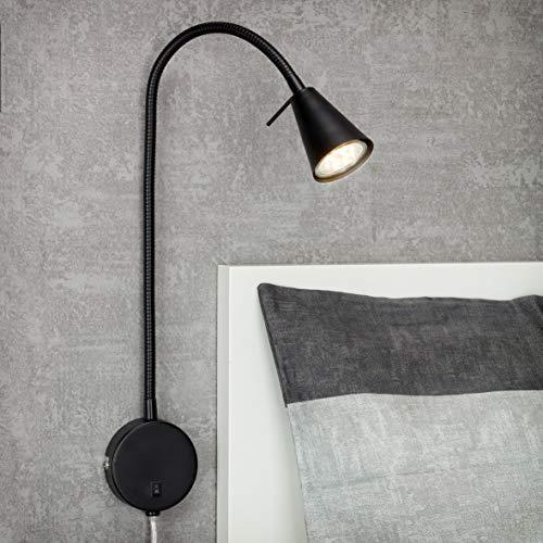 Briloner Leuchten LED, lámpara de Cama con Brazo Flexible, Interruptor de Encendido y Apagado, 4 vatios, 400 lúmenes, 3000 Kelvin, Metal, Negro, 4 W