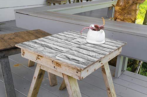 Wallario Aufkleber Selbstklebende Garten-Tisch-Decke - Steinwand grau in 50 x 50 cm